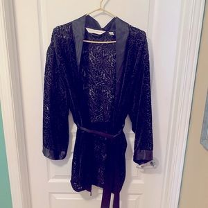 Satin and textured velvet robe